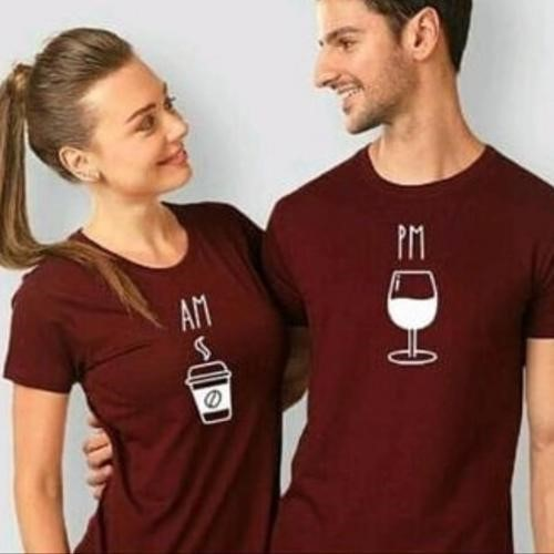 Coffee AM and Wine PM for couple shirt that love both coffee and wine