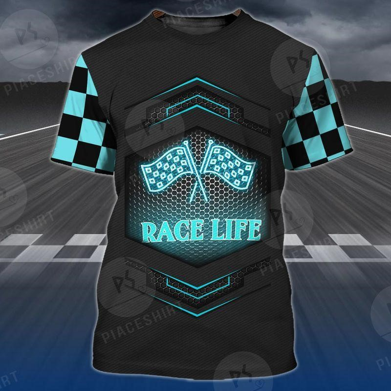 3D printed Race Life Tee of Trends Store with the race court patterns