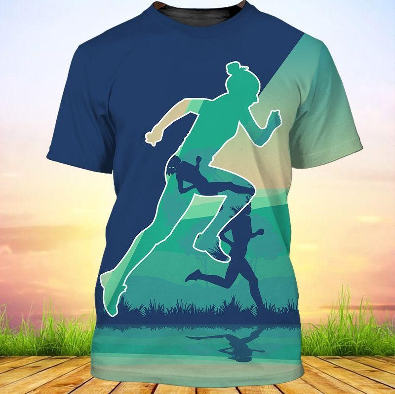 Running Girl Tee of Trends Store with blue color tones