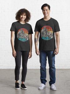 Vintage and classic Motorbike Race Tee for bikers with rainbow pattern