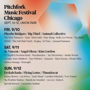 2021 Pitchfork music festival timeline with a list of artists