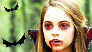 A girl's vampire face on Halloween day