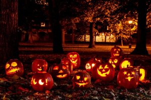 A park covering with Jack-o'-lantern on Halloween