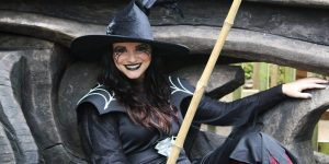 Black is the main color of witch costume on Halloween day