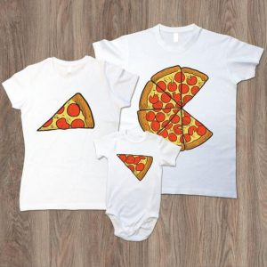 Cute cartoon pizza for mom dad and kid t shirt