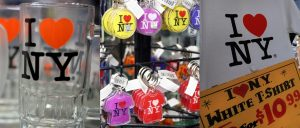 souvenir items with I love New york graphic pattern