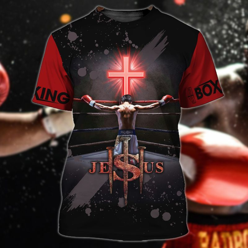 Jesus Crucifixion as a boxer on the game ring tee