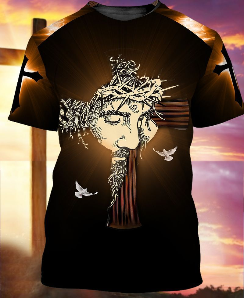 Jesus combining with cross and doves