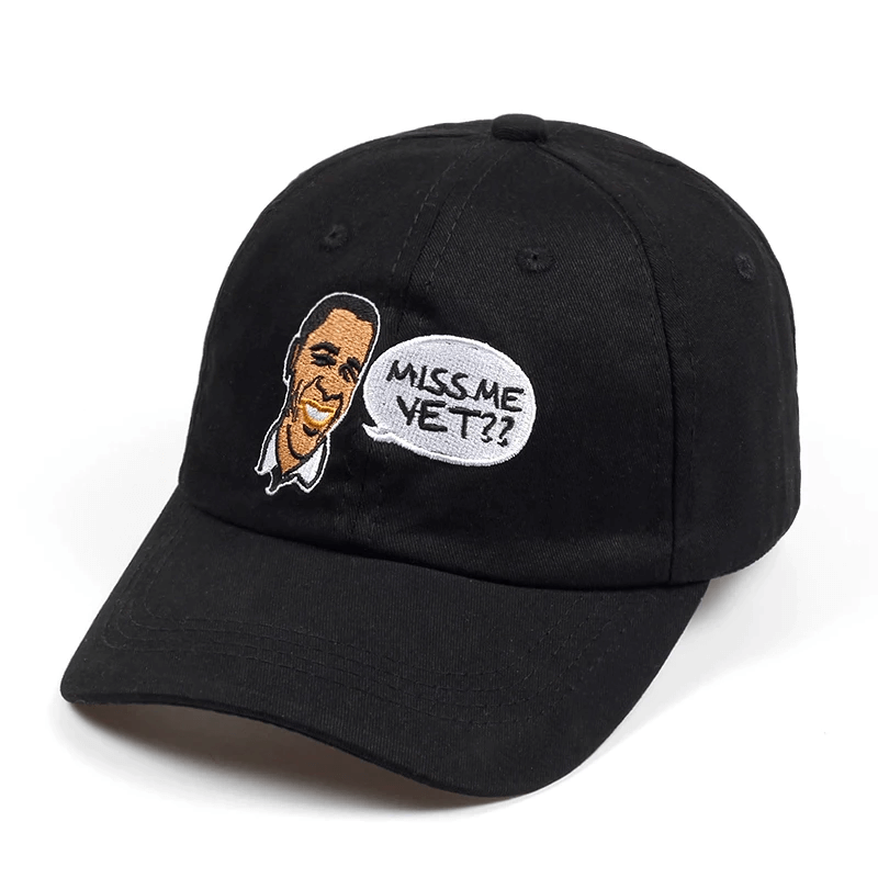 A Barack Obama hat with funny caricature cartoon miss me yet