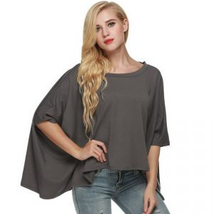 Batwing solid color blouse is the best solid color casual shirt for women