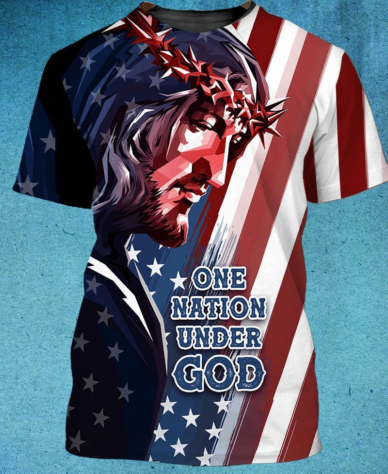 one nation under god for patriots and jesus pious 3D Tee