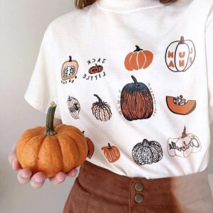 Several patterns of pumpkin shirt for visiting a patch