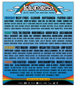 The Lollapalooza official schedule and line-up in 2021