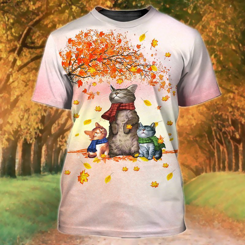 Autumn leaf fall with cats wearing scarves shirt for pumpkin patch