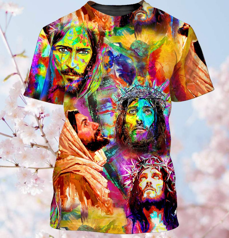 Colorful painting of Jesus T shirt