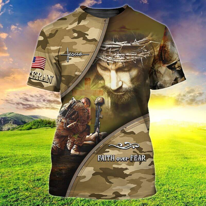 Faith over Fear Jesus with a soldier kneeling next to The Fallen Soldier Battle Cross in Korean War T shirts 3D of Trends Store