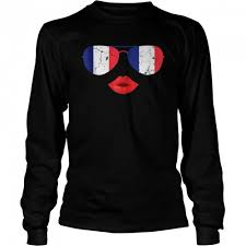 Sunglasses and sexy lips French Flag shirt