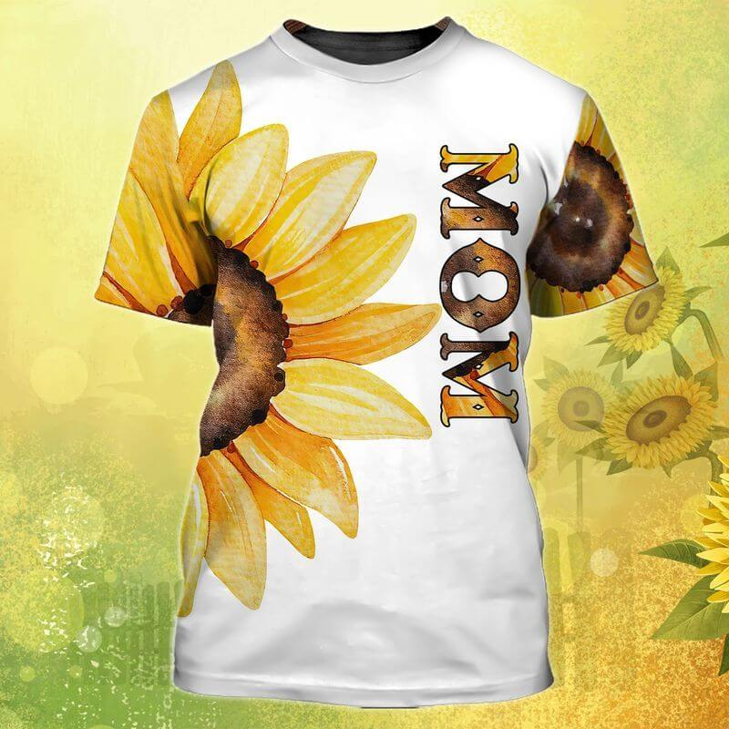 t shirt for pregnant mom and dad with sun flowers