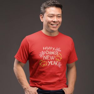 a man wearing red Happy chinese New year T shirt