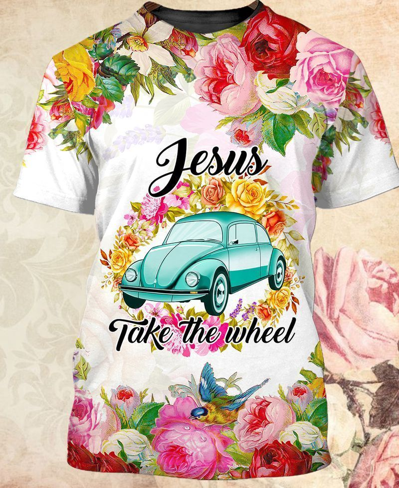 Floral minicooper and quotes jesus take the wheel designed T shirts
