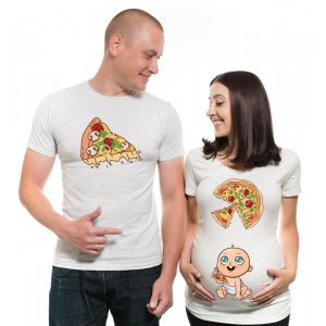 t shirt for pregnant mom and dad for pizza lovers
