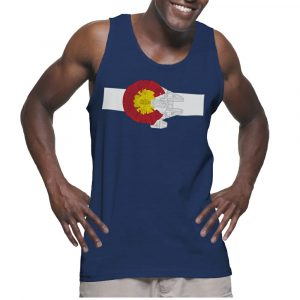 Strong man wears a flag tank top on Colorado day