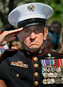 An US veteran with a Purple Heart medallion pinned to his chest