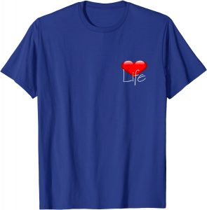 Blue Love Life T-shirt for elegant outfits.