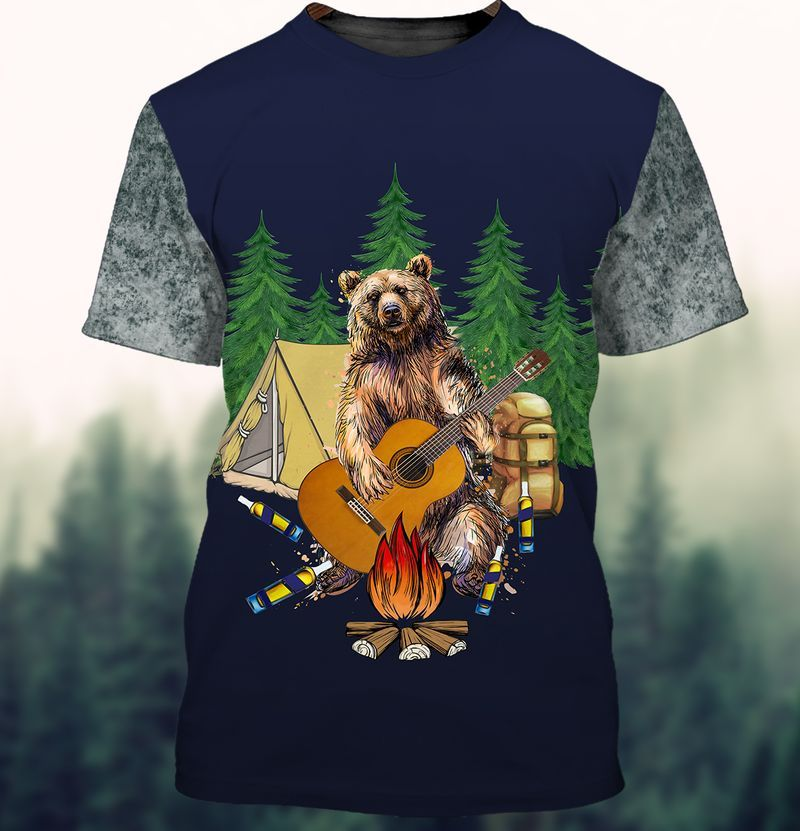 Drunk Bear Playing Guitar by campfire 3D Camping T-shirts