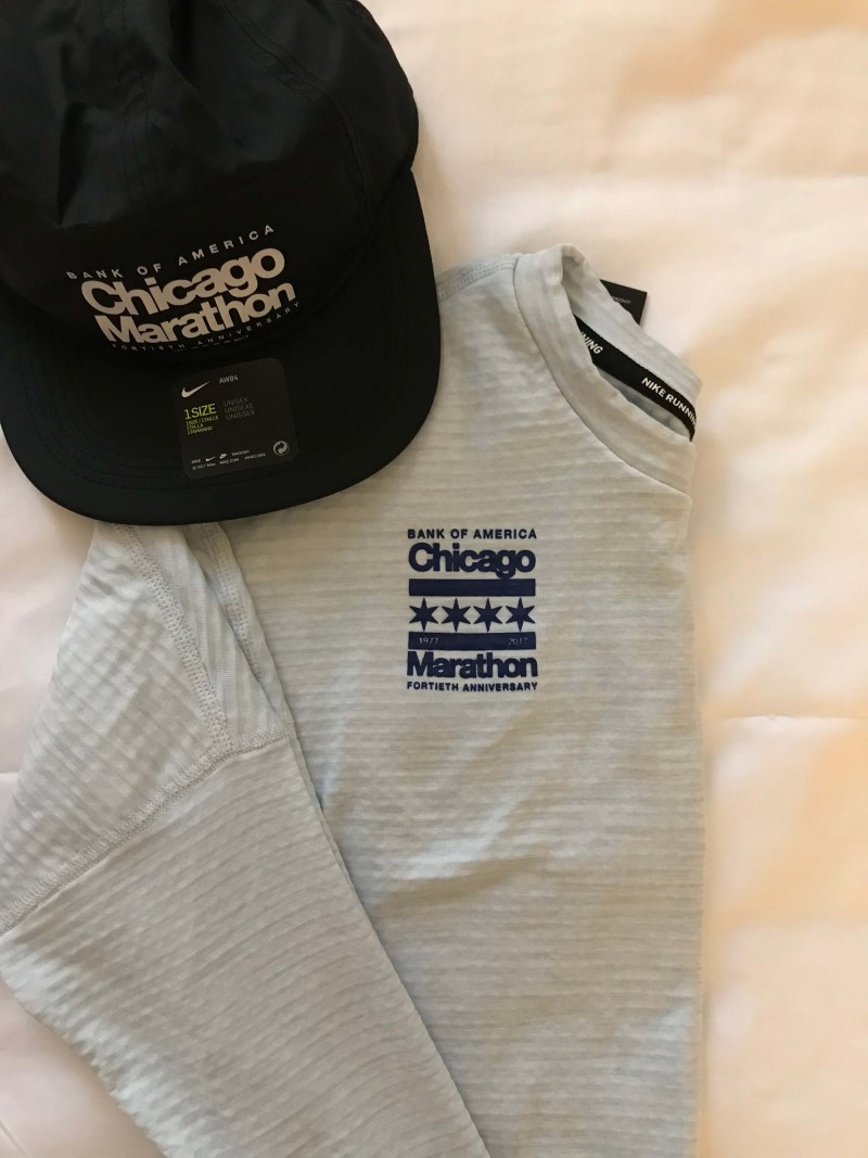 The Chicago Marathon hat and shirt outfit