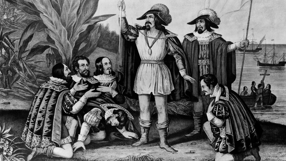 Christopher Columbus landed on the North American continent painting