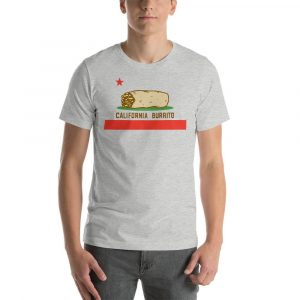California tee with burritos for foodies.