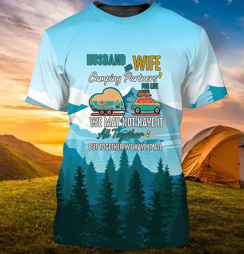Amazing camping t-shirt designs for husband and wife.