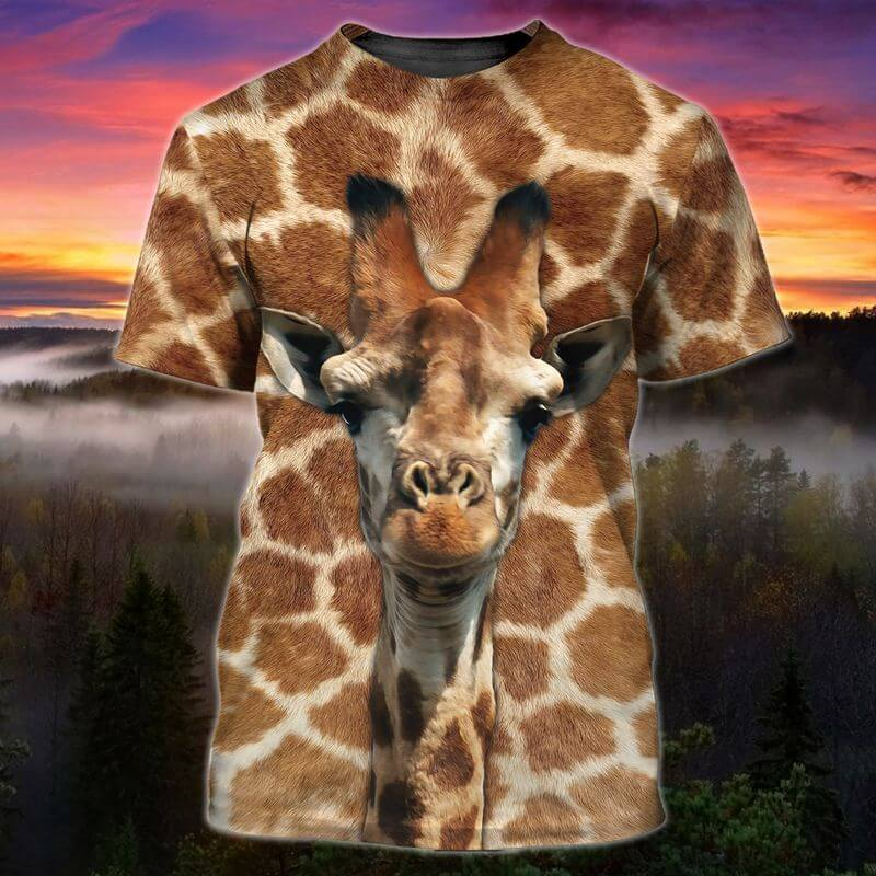 The Columbus Day t shirt with a giraffe image