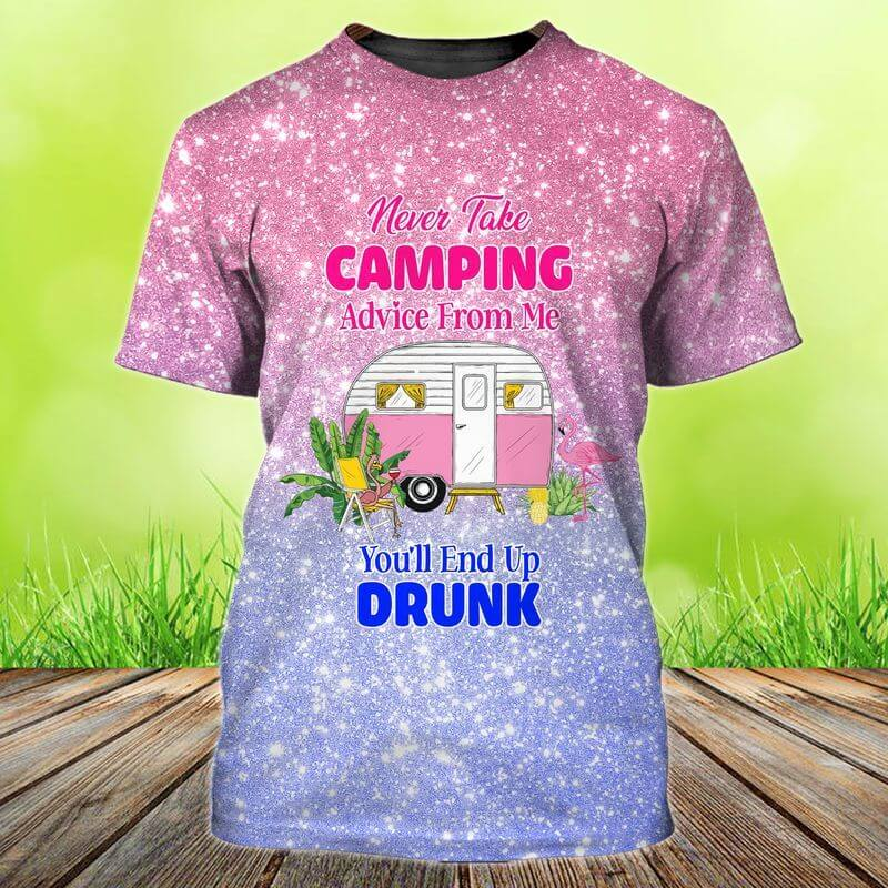 Drunk Advice Glittery Camping Graphic T-shirt for women