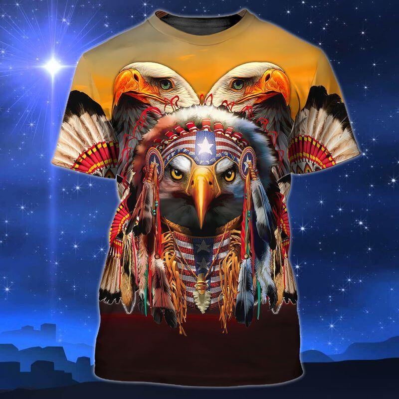 Mighty American Eagle Indigenous Day T-Shirts with America flag headdress