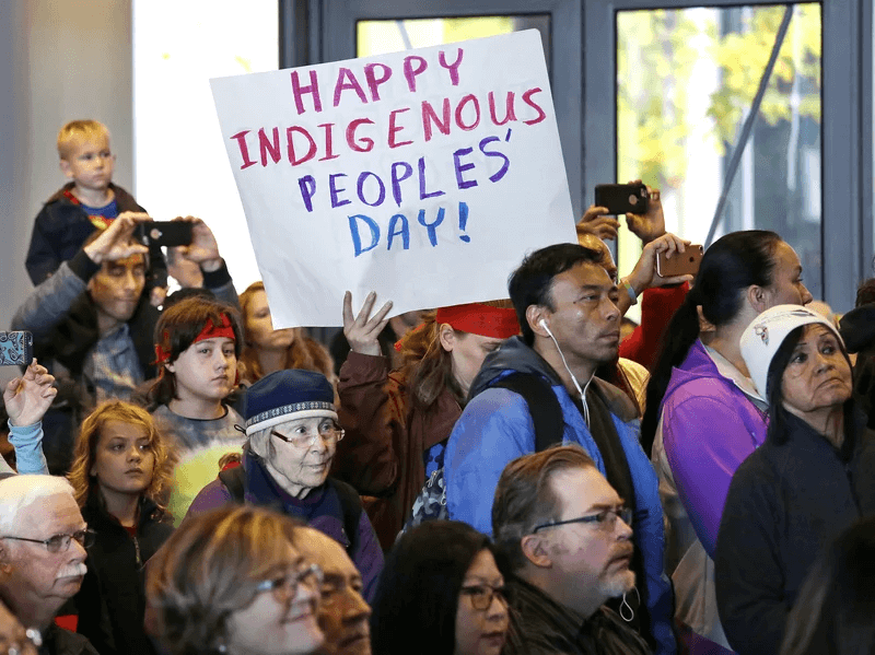 Happy indigenous peoples' day parade in america