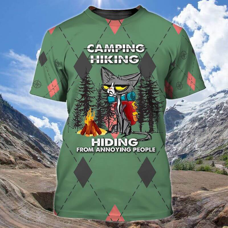 Camping Hiking Hiding From annoying people Cat Camping T-shirts.