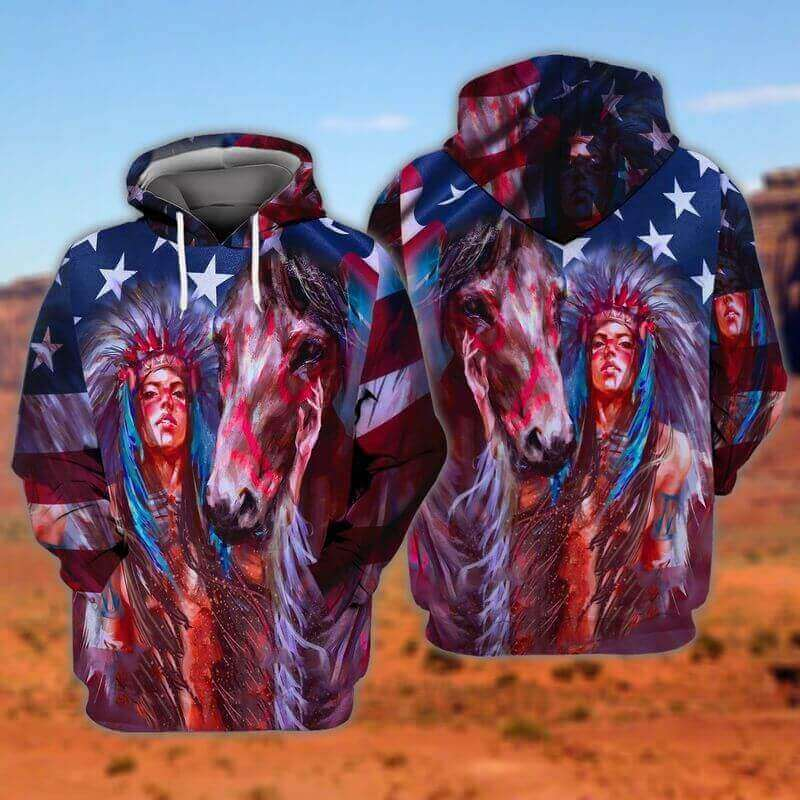 Horse And Girl Painting Native American Hoodies 3D