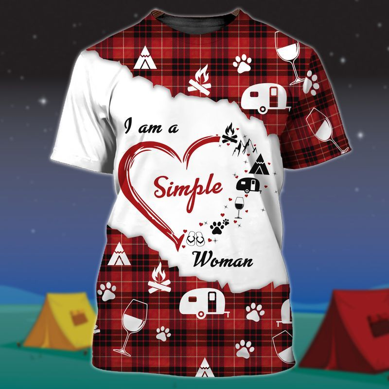 i am a Simple Woman Camping Graphic T-shirt 3D