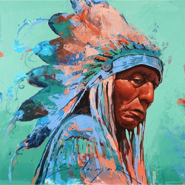 Indigenous Peoples Day painting mighty chief with colorful headdress