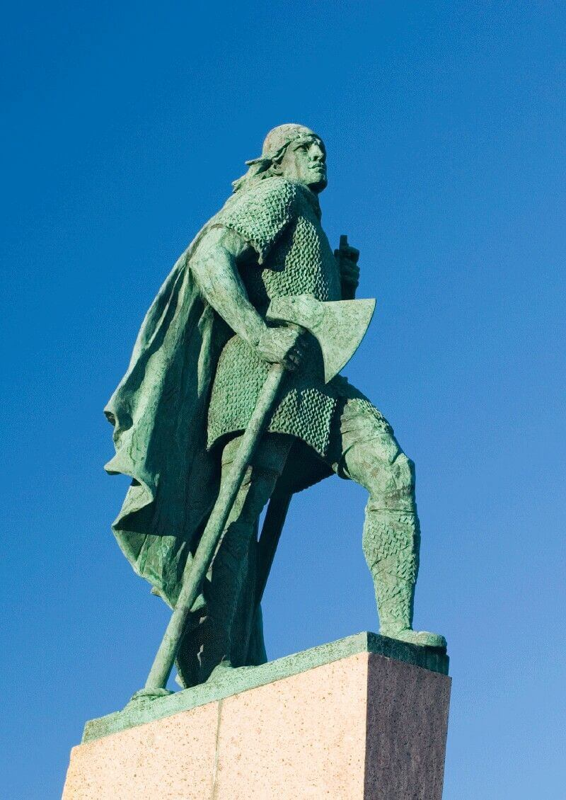 The Leif Erikson statue in front of Reykjavik church, Iceland