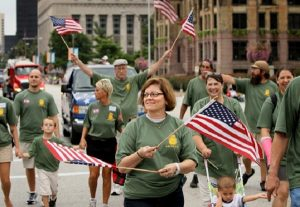 People parade on Labor Day in US