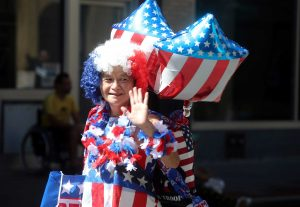 A old lady on Labor Day parade in USA