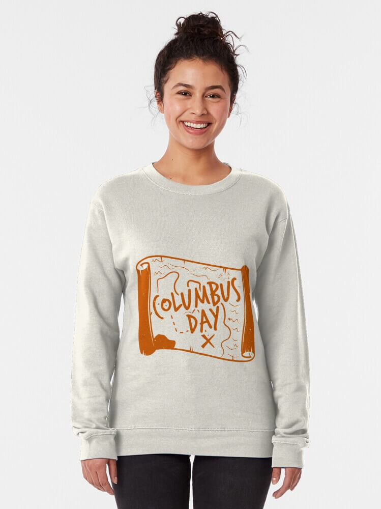 The Celebration Day Of Columbus Sweatshirt gray with map patterns