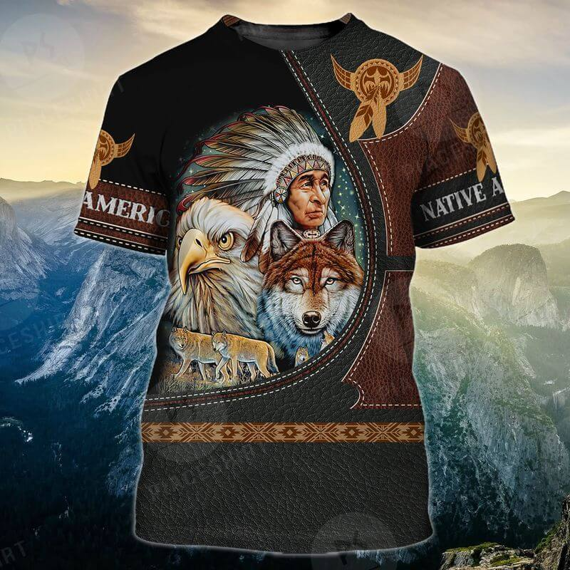 Native Chief, Wolf And Eagle Indigenous Day T-Shirts 3D printed leather