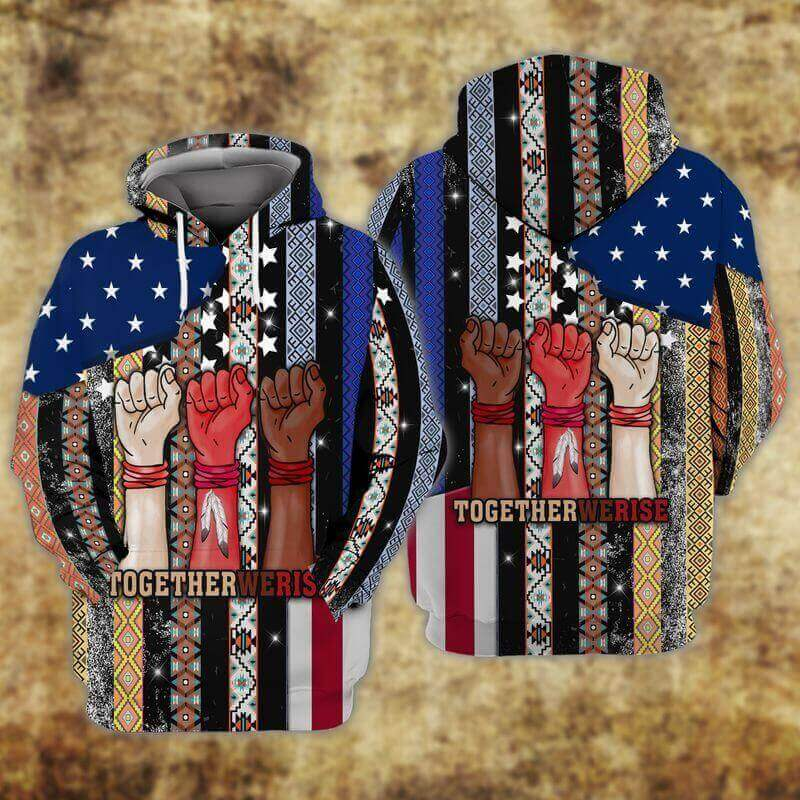 Together We Rise Native American Hoodies Border Patterns