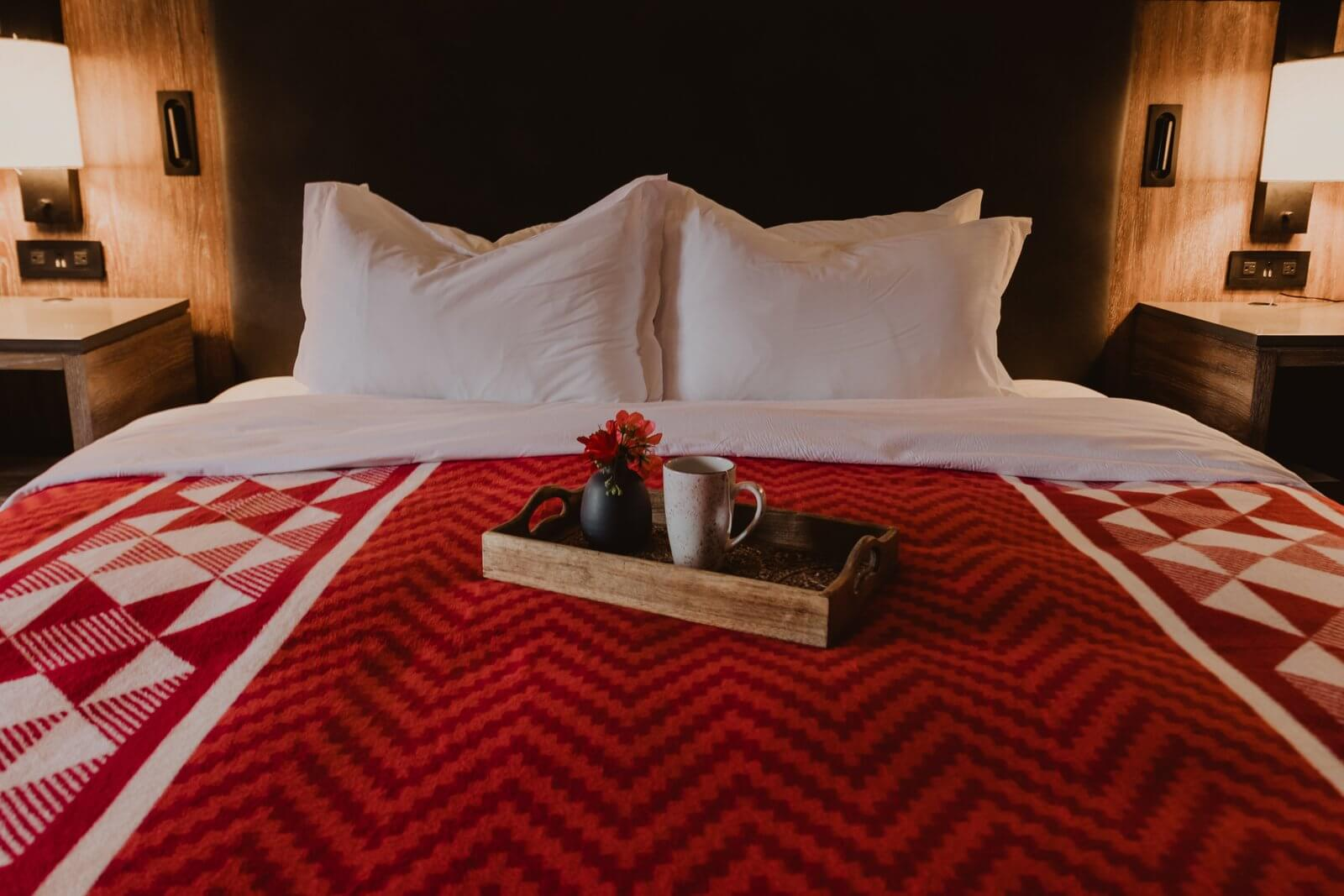 Native American Indian blankets on bed