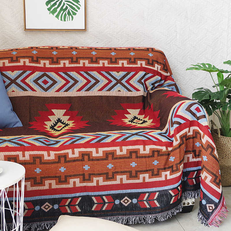 Native American Indian blankets on a couch