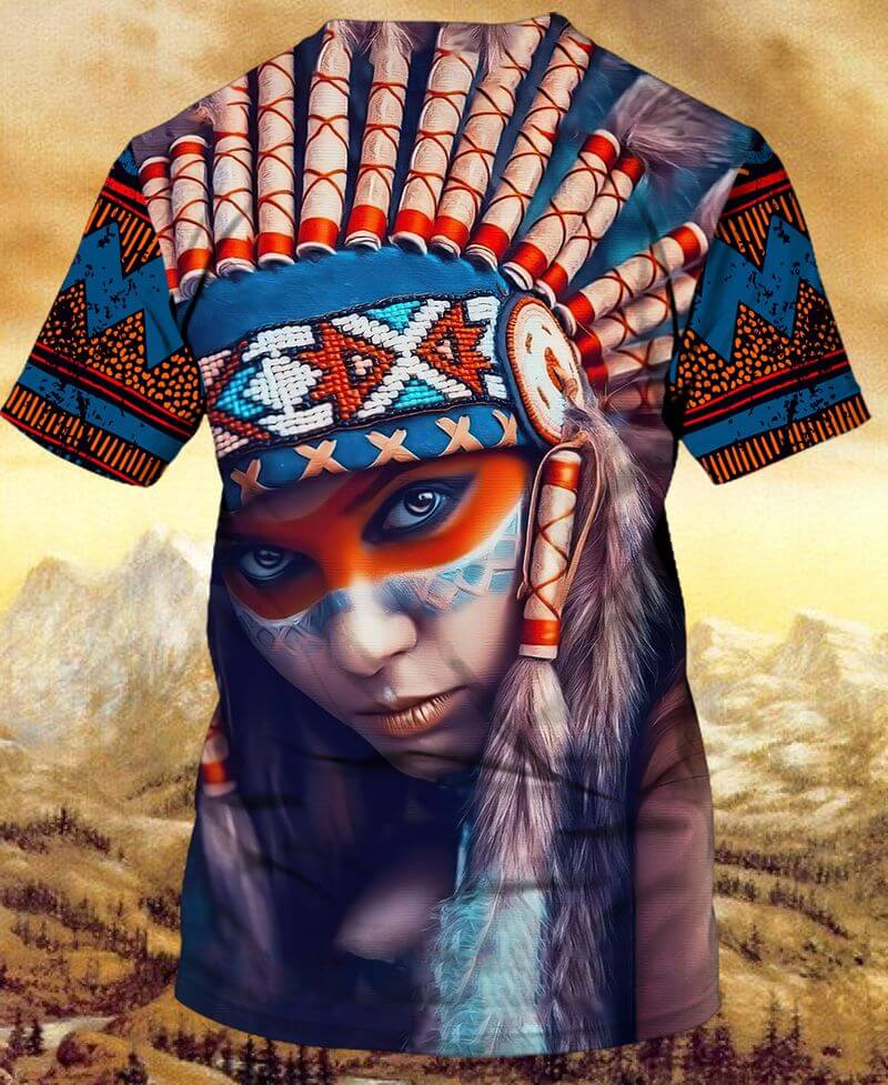 colorful 3D printed Native Girl With Headdress Indigenous Day T-Shirts